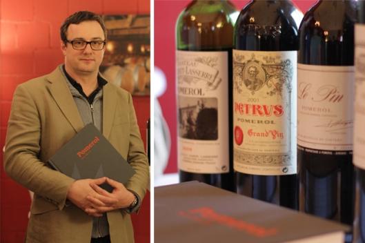 Botschafter des Pomerol: Die legendären Bordeaux-Weine Petrus und Le Pin sowie Buchautor Neal Martin, der auf Einladung des White Club den Weg ins Basler WeinHotel fand.